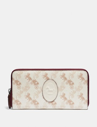 Coach Accordion Zip Wallet With Horse And Carriage Print And Archive Patch