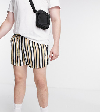 ASOS DESIGN Plus lightweight shorter shorts in beige stripe