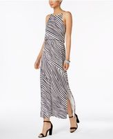 Nine West Animal-Print Blouson Maxi Dress