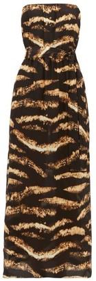 Raey Bleached Tiger-print Strapless Silk Midi Dress - Black Print