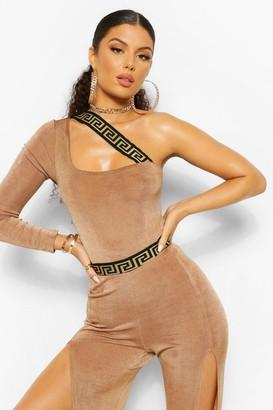 boohoo Geo Tape Textured Slinky Asymmetric Bodysuit