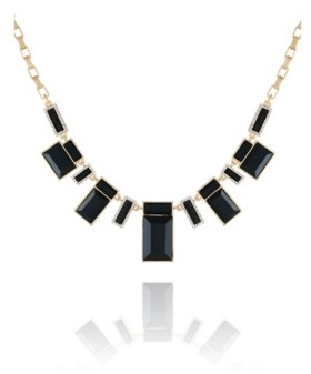 T Tahari Women's Jet and Gold-Tone Statement Necklace