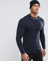 Asos Extreme Muscle Long Sleeve T-Shirt With Printed Turtleneck