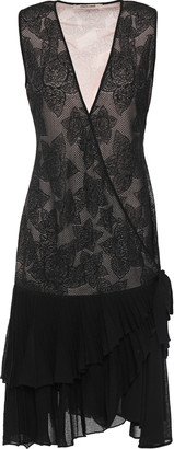 Roberto Cavalli Ruffle-trimmed Metallic Crochet-knit Wrap Dress