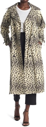 Sea Cheetah Print Double Breasted Trench Coat