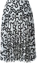 J.W.Anderson curvy line print pleated skirt - women - Polyester/Acetate - 8
