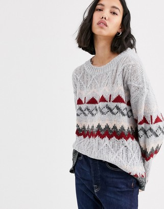 NATIVE YOUTH jumper in fairisle knit