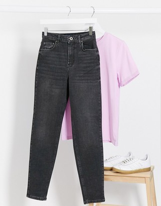 Pieces leah mom jeans in washed black