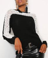 Red Queen Women's Pullover Sweaters BLACK - Black & Ecru Lace-Contrast Sweater - Women