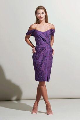Rene Ruiz Collection Off Shoulder Front Slit Cocktail Dress