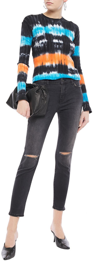 Thumbnail for your product : Current/Elliott The Stiletto Distressed Mid-rise Skinny Jeans