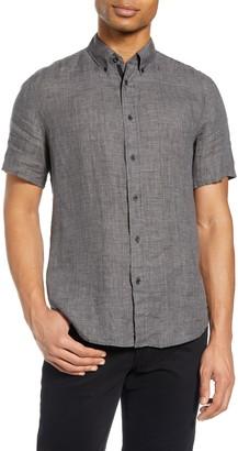 Rag & Bone Tomlin Slim Fit Linen Short Sleeve Button-Down Shirt