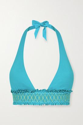 Heidi Klein Aruba Smocked Halterneck Bikini Top - Turquoise