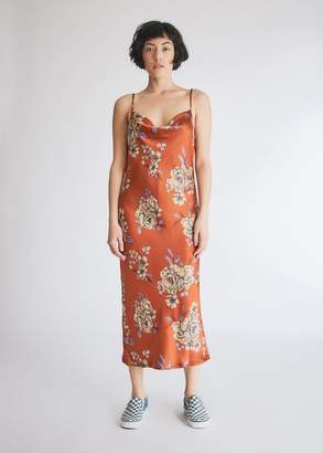 Stelen Women's Veronika Floral Dress in Rust, Size Extra Small | Spandex