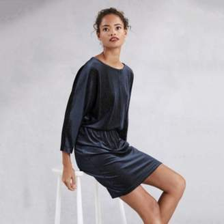 The White Company Velvet Sparkle Batwing Dress, Midnight, 10