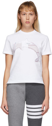 Thom Browne White Patchwork Dolphin T-Shirt