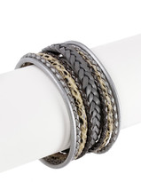 Saachi Braided Multi Cord Grey Genuine Leather Bracelet