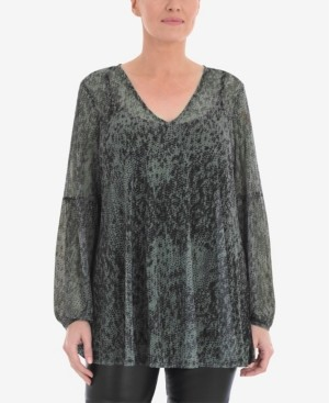 Live Unlimited Women's Plus Size Mesh Blouse with Blouson Sleeve