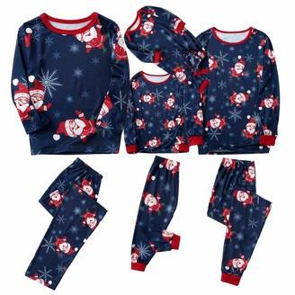 Hulky Coats & Jackets HULKY 2Pcs Family Matching Christmas Santa Claus Outfits Long Sleeve T-Shirt Romper+Plaid Long Pants Pajamas Dark Blue