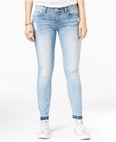 Dollhouse Juniors' Paint Splatter Ripped Skinny Jeans