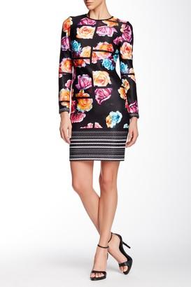 Julia Jordan Long Sleeve Scuba Floral Grid Shift Dress