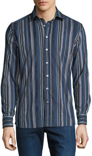Etro Men's Striped Cotton Sport Shirt