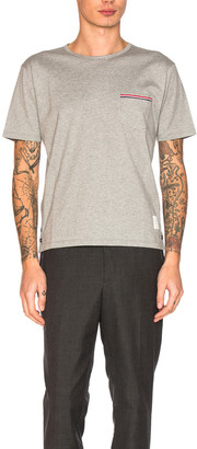 Thom Browne Jersey Cotton Short Sleeve Pocket Tee in Light Grey | FWRD