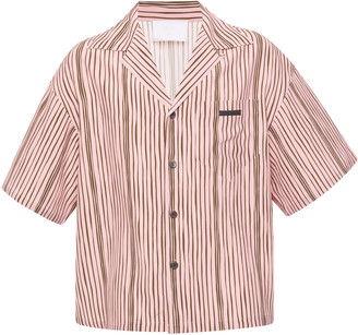 Prada Camp Collar Striped Cotton-Poplin Shirt
