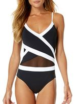 Anne Cole Crossover Mesh Trim One-Piece Swimsuit