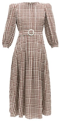 Alessandra Rich Crystal-belt Pleated Houndstooth Silk Midi Dress - Brown White