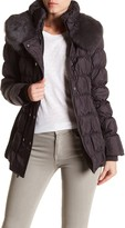 Via Spiga Dyed Rabbit Fur Collar Ruched Puffer Coat