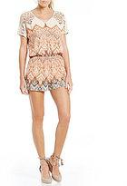 Miss Me Printed Crochet Shoulder Crisscross Open Back Romper