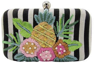 La Regale Weekend Stripe Pineapple Embroidered Minaudiere