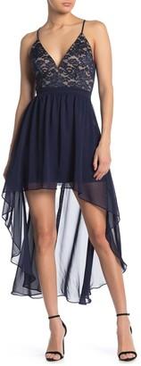 Love, Nickie Lew Lace High/Low Chiffon Dress