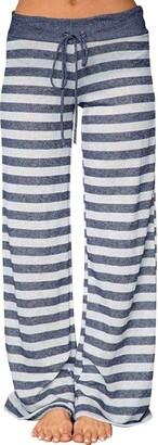 NEEDRA SALES Trousers Large Size Women Summer Print Trousers Ladies Summer Loose Wide Leg Pants (Blue Striped M)