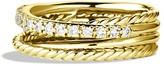 David Yurman Crossover Ring with Diamonds in Gold