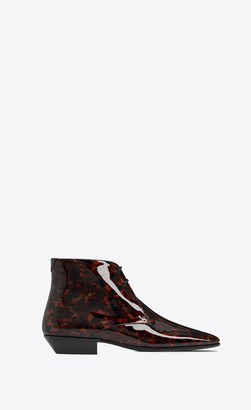Saint Laurent Classic Shoes Jonas Laced Ankle Boots In Tortoiseshell Patent Leather Natural 2