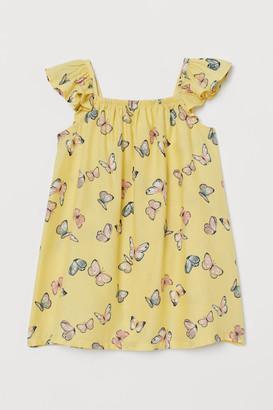 H&M Patterned Flutter-sleeve Dress - Yellow