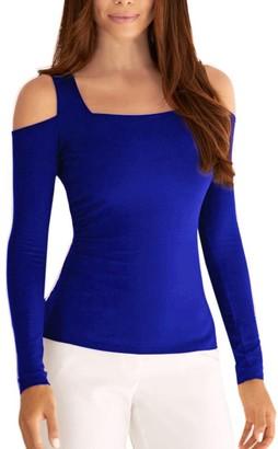 Toamen New Sexy Women's Cold Shoulder Solid Long Sleeve Slim Sweatshirt Pullover Tops Blouse Shirt