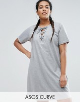 Asos Lace Up Front T-Shirt Dress
