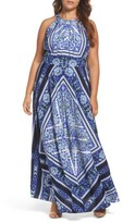 Eliza J Plus Size Women's Scarf Print Maxi Dress
