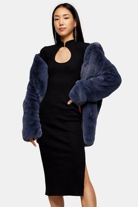 Topshop Black Keyhole Midi Dress