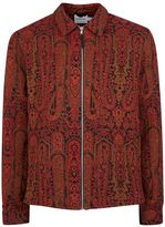 Topman Burgundy And Gold Tapestry Overshirt