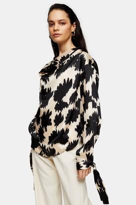 Topshop Womens **Black Floral Print Cowl Neck Blouse By Black