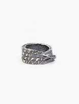 Denis Music Oxidised Silver Moebius Large Cross Ring