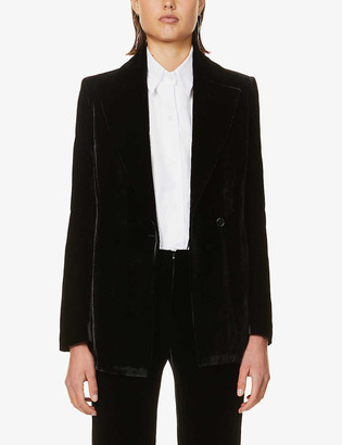Gabriela Coll G Padded-shoulder notch-lapel velvet blazer