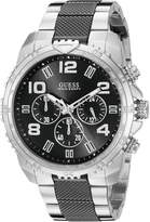 GUESS GUESS? Men's U0598G3 Stainless Steel & Black Sport Chronograph Watch with Tachymeter Rotating Bezel