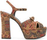 Saint Laurent tapestry platform sandals