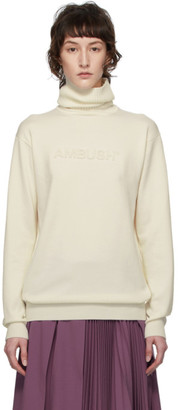 Ambush Off-White Logo Emboss Knit Turtleneck