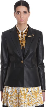 Versace Leather Jacket In Black Leather